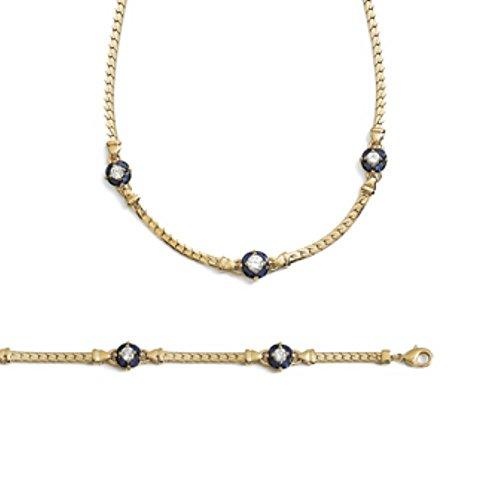ISADY - Achima Gold - Collier - Plaqué Or 750/000 (18 carats) - Oxyde de zirconium bleu - Longueur 42 cm