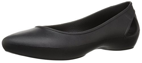 Crocs Women's LauraFlatW Ballet Flat, Black, W6 M US ()