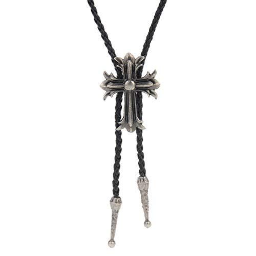 (Jenia Western Cross Bolo Tie American Leather Necktie Rope Braided Necklace for Men, Women Boy)