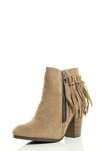 Breckelles Womens Almond Toe High Chunky Heel Tassel Fringe Ankle Bootie Boot Beige