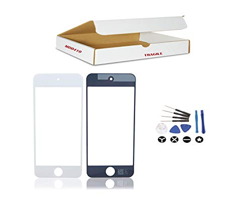 ((md0410) White Front Outer Glass Lens Screen Replacement Part Compatible for iPod Touch 5 and 6 Gen Model A1421 A1509 A1574 (LCD & Digitizer Not Included) + Tools Kit)