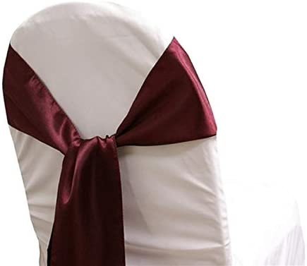 mds Pack of 25 Satin Chair Sashes Bow sash for Wedding and Events Supplies Party Decoration Chair Cover sash -Burgundy