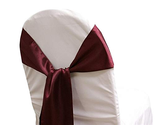 mds Pack of 100 Satin Chair Sashes Bow sash for Wedding and Events Supplies Party Decoration Chair Cover sash -Burgundy -