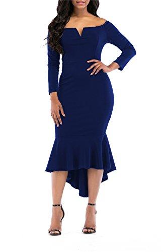 Wear Weddings Formal (Mystry Zone Women's Pure Color Slim Fit Dress Pencil Dress High Low V-Neck Sexy Dress Blue XX-Large)