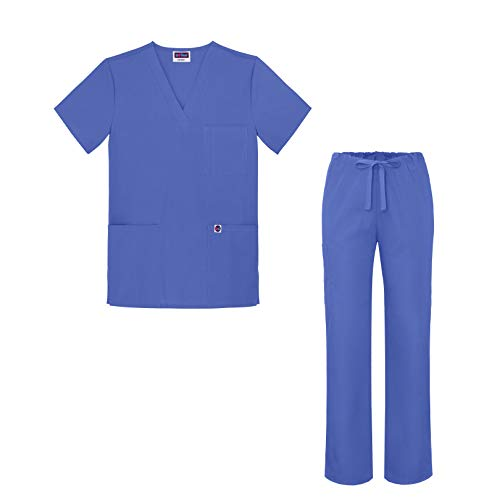 Sivvan Medical Uniform Scrub Set - V-Neck Scrub Top Drawstring Scrub Pants Unisex fit - S8402 - Ceil Blue - M