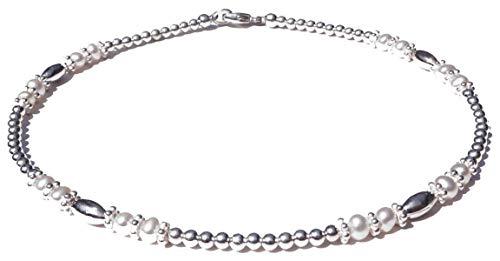 DAMALI Freshwater Pearl Anklet, June Birthstone Beaded Ankle Bracelet, Handmade Jewelry Sm to XL