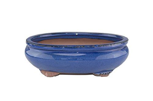 10″ Glazed Royal Blue Oval Yixing Bonsai Pot (CN34-2) For Sale