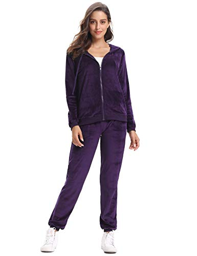 Abollria Women's Long Sleeve Solid Velour Sweatsuit Set Hoodie and Pants Sport Suits Tracksuits - Velour Hoody Womens