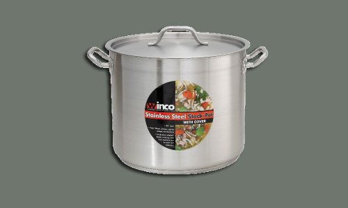 Winco SST-20, 20-Quart 10.25-Inch High 11.9-Inch Diameter Stainless Steel Stock, Pot With Cover, Tri-ply Heavy-duty Bottom for Efficient Heat Distribution ()