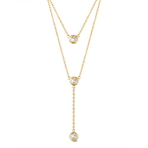 SHEGRACE 18K Gold Plated Double Layered Necklace 925 Silver, with Three Round Zircon Pendant (Golden), (18k Gold Choker)