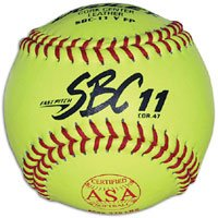 Dudley ASA SBC Leather11-Inch Yellow Fast Pitch Softball, .47/375-Pounds, Red Stitch ( Pack of 12)1 Dozen