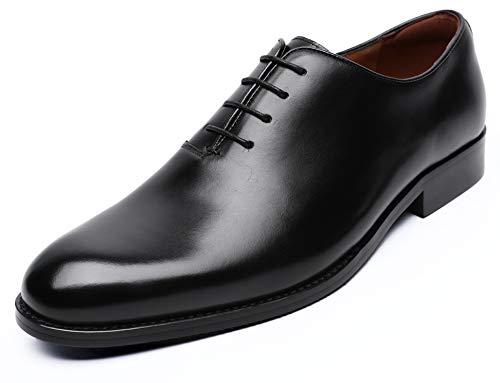 (DESAI Oxford Mens Dress Shoes Formal Business Lace-up Full Grain Leather Minimalist Shoes for Men(10 M US,Black))