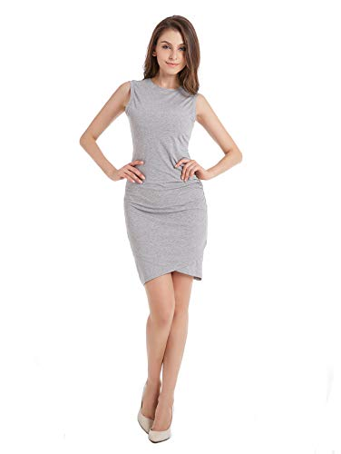 Ruched Women's Midi Sheath Tulip Bodycon Sleeveless Tank Jersey ZURIFFE Gray Summer Dress qt6na0SS