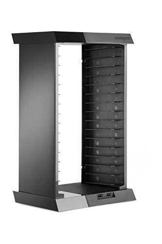 Snakebyte PS4 Charge: Tower - Games Storage Tower for 15 Games including 2 USB Ports to Charge your Controller / Gamepad for PlayStation 4 (Rack Playstation Storage 4)