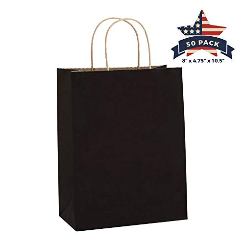 Black Paper Bags with Handles - 50 Pcs 8x4.75x10.5 inches Bulk Gift Bags, Shopping Bags, Party Bags, Favor Bags, Goody Bags, Cub, Business Bags, Kraft Paper Bags, Retail Bags, Merchandise Bags ()