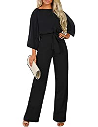Womens Casual Short Sleeve Belted Jumpsuit Long Pants Back Keyhole Overall Romper Playsuit…