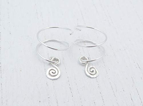 Double Piercing Earrings with Spiral Charm for Two Side by Side Ear Piercings in Argentium Sterling Silver (Double Hoop Charm)