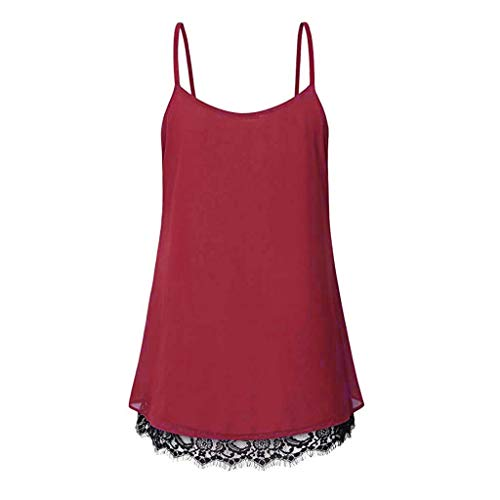 TWGONE Cami Tank Tops For Women Lace Loose Sleeveless Solid Color Basic Vest(Medium,Red) by TWGONE (Image #1)