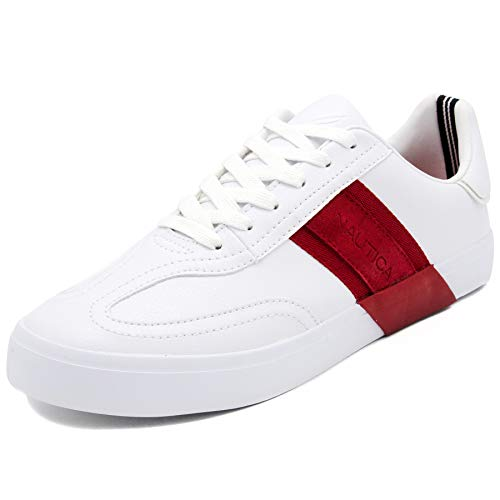 Nautica Men's Townsend Casual Lace-Up Shoe,Classic Low Top Loafer, Fashion Sneaker-White/Red-9