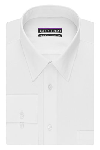 Geoffrey Beene Men's Regular Fit Textured Stripe Sateen Shirt, White, 16.5