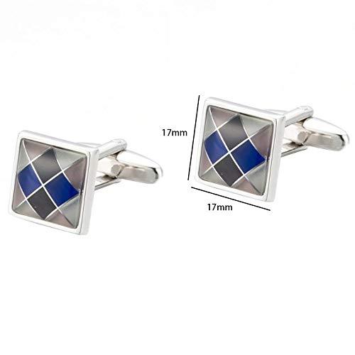 Wimagic 1 Paire /À la Mode et Noble des Bleu et Blanc Boutons Boutons de Manchette /à Carreaux fran/çais Boutons de Manchette de Haute qualit/é avec bo/îte Cadeau