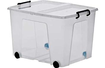 Etonnant 75 Litre Plastic Storage Box On Wheels   Clear.