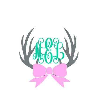 Gustave Monogrammed Deer Antlers with Bow Deer Antlers Decal Hunting Decal Girls Deer Decal Deer Antlers Monogram Deer Antlers