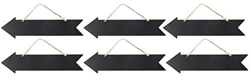 (Hanging Chalkboard Sign - 6-Pack Directional Chalkboard Arrow, Reusable Chalk Signs, Hanging Wall Plaque, Decorative Sign, for Home, Office, School, Party, Wedding Decoration, 13.6 x 4.6 x 0.1 Inches )