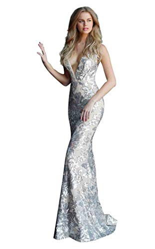 Jovani - Sequined Plunging V-Neck Evening Gown 65578 ()