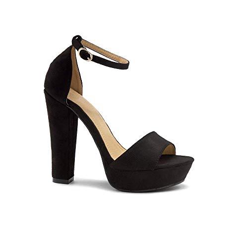 Herstyle Island Women's Open Toe Ankle Strap Chunky Platform Dress Heel Sandal Black 5.0