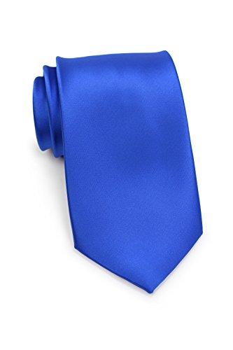 Bows N Ties Mens Necktie Solid Color Microfiber Satin Tie 3 25 Inches  Marine Blue