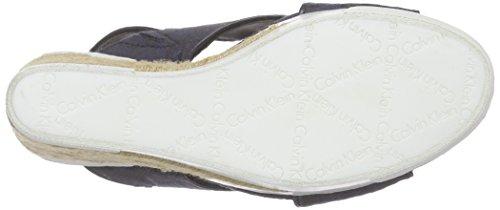 Blue Logo Jacquard Sandals Blau Bbm Open Calvin Elaine Ck Women's Patent Toe Klein Jeans Uwx6Ta
