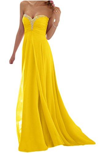 Promgirl House Damen Glamour Traegerlos A-Linie Chiffon Abendkleider  Cocktail Ballkleider Lang Gelb 5uU2PZfjPg ce9f3f4f19