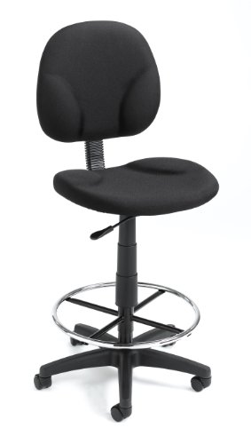 Drafting 27 Stools (Boss Office Products B1690-BK Stand Up Fabric Drafting Stool without Arms in Black)