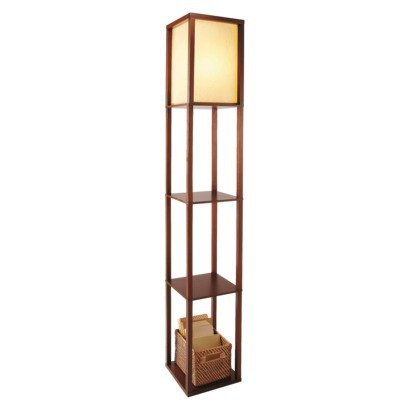 Adesso Shelf (Threshold Shelf Floor Lamp - Brown (Walnut) with Ivory Shade (Includes CFL Bulb))