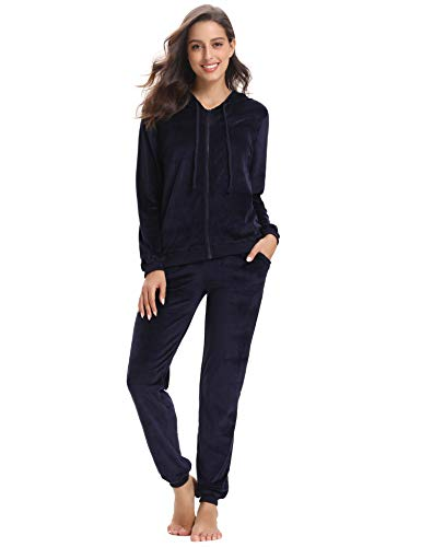 Abollria Women's Long Sleeve Solid Velour Sweatsuit Set Hoodie and Pants Sport Suits Tracksuits Navy Blue ()