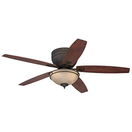 Westinghouse Lighting 7209600 Carolina 52-Inch Oil Rubbed Bronze Indoor Ceiling Fan, LED Light Kit with Amber Alabaster Bowl, -