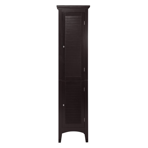 Elegant Home Fashions Adriana Linen Tower with 2-Shutter Door (Bath Cabinet Linen)