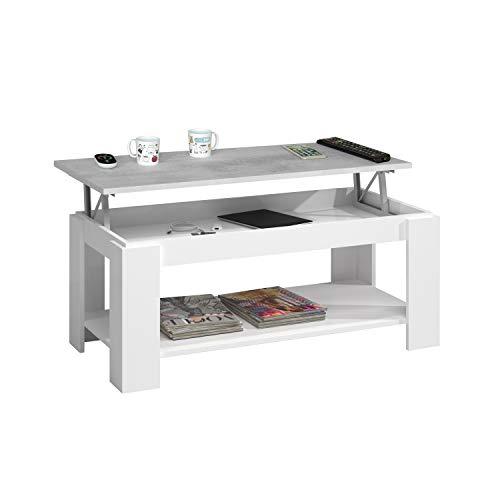 Habitdesign 0L1639A - Mesa Centro Ambit con revistero, Mesa elevable, mesita Mueble Salon Comedor Color Blanco Artik - Gris Cemento, Medidas: 102 cm (Largo) x 43/54 cm (Alto) x 50 cm (Fondo)