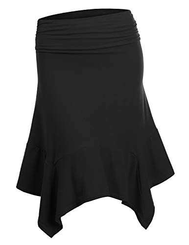 Doublju Womens Elastic Waist A-Line Flowy Asymmetrical Pleated Midi Skirt Black X-Large