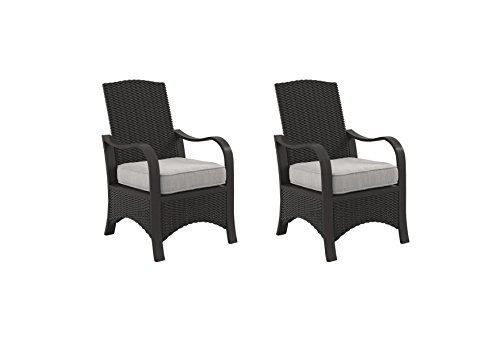 - Ashley Furniture Signature Design - Marsh Creek Outdoor Chair with Cushion - Set of 2 - Brown & Gray