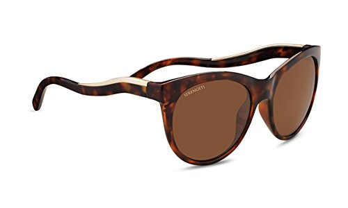 (Serengeti Valentina Sunglasses Shiny Red Moss Tortoise Frame/Satin Champagne Gold, Brown)