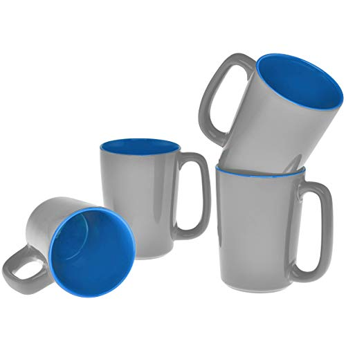 Culver SLAT Ceramic Mug, 16-Ounce, Grey Blue, Set of 4
