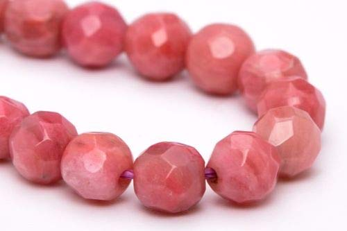 (4mm Natural Rhodonite Beads Grade Faceted Round Loose Beads 7.5'' Crafting Key Chain Bracelet Necklace Jewelry Accessories Pendants)