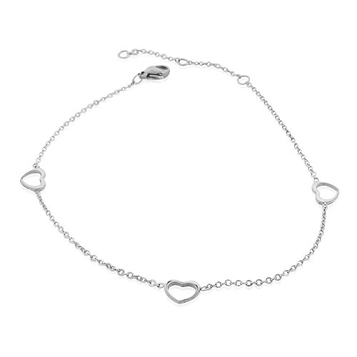 (EDFORCE Stainless Steel Silver-Tone Cut-Out Love Heart Anklet Bracelet, 11