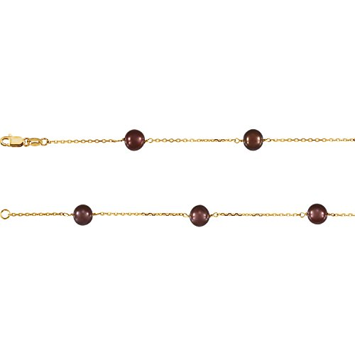 """14K Yellow Gold Freshwater Cultured Dyed Chocolate Pearl 7.5"""" Bracelet"""