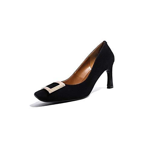 ZHZNVX Zapatos de Mujer Suede Summer Bomba básica Tacones Stiletto Heel Black/Blue Black