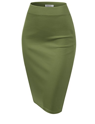 CLOVERY Women's Elastic Waist Band Stretchy Fabric Pencil Skirt DarkGreen 2XL Plus Size by CLOVERY