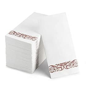 100 Disposable Guest Towels Soft and Absorbent Linen-Feel Paper Hand Towels Durable Decorative Bathroom Hand Napkins Good for Kitchen, Parties, Weddings, Dinners or Events White and Rose Gold