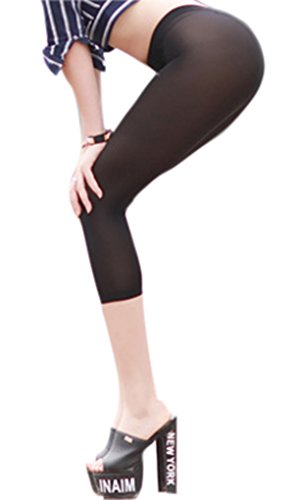 LinvMe Women's Erotic See Through Cropped Leggings Tight Pants S Black